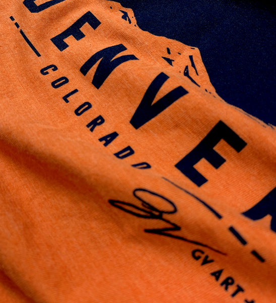 Denver D Tower T shirt Orange and Navy