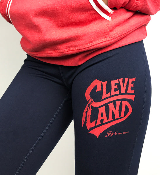 Cleveland Baseball Feather Leggings - Navy