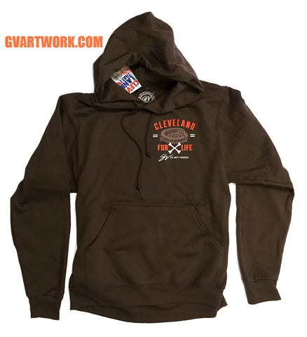 Cleveland Football For Life Brown Hooded Sweatshirt