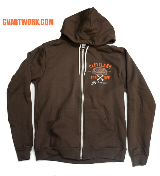 Cleveland Football For Life Zip Up Sweatshirt