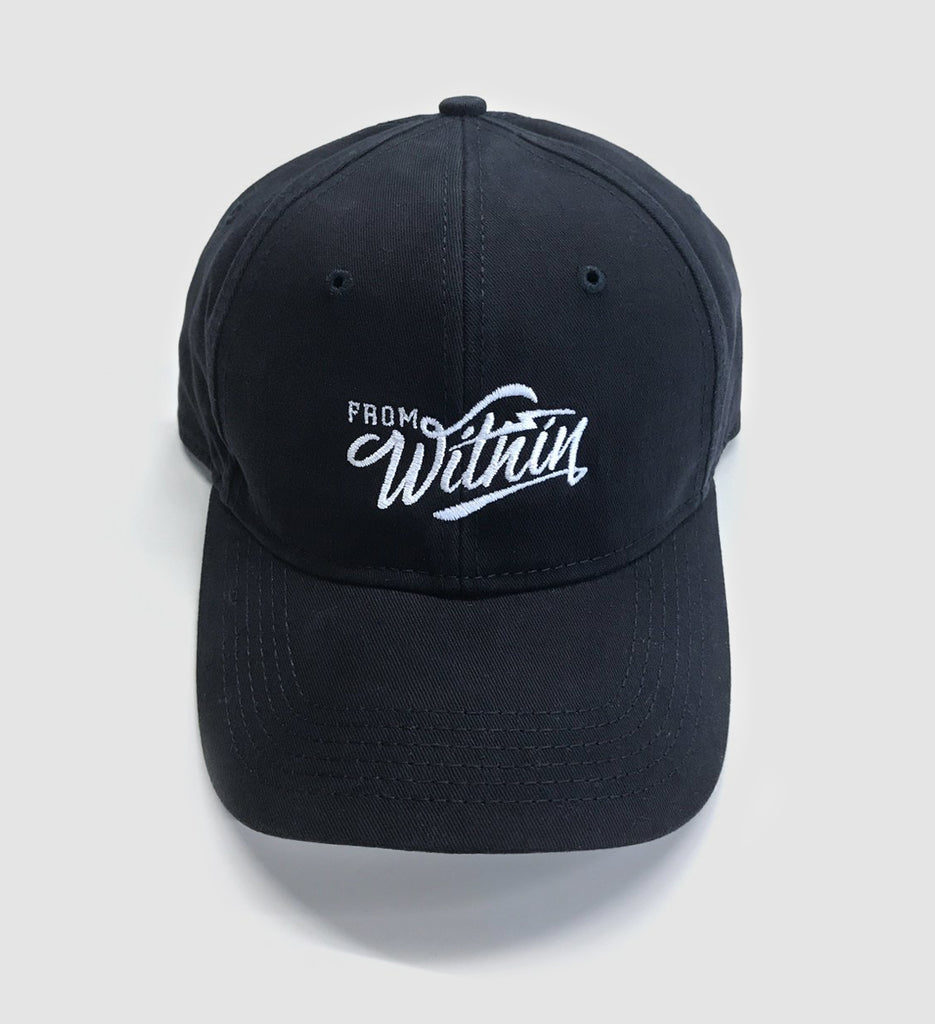 127e03ed19384 From Within Script Logo Navy Blue Dad Hat