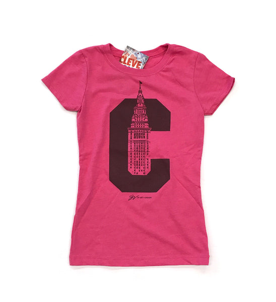 Girls Kids C Terminal Tower T Shirt Pink