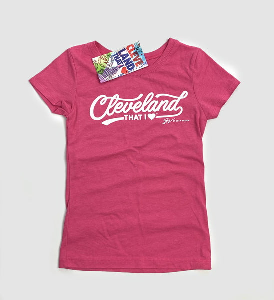 Kids Raspberry Cleveland Script Short Sleeved Shirt