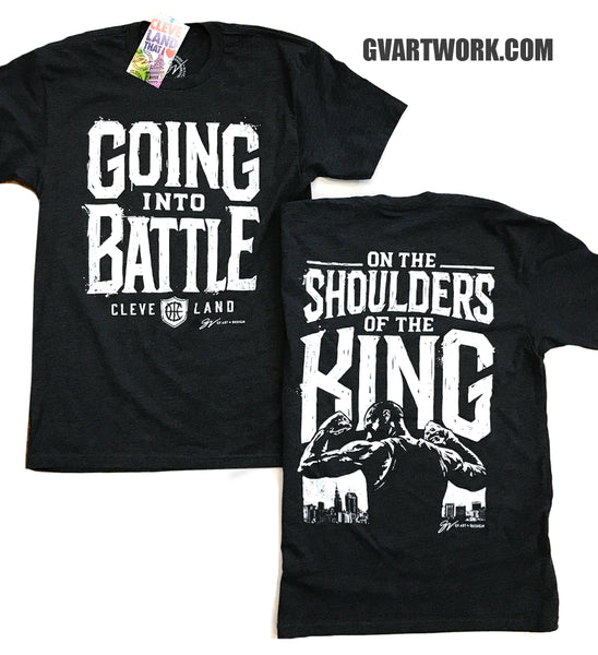 Going Into Battle On The Shoulders of the KING T shirt