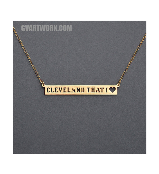 24K Gold Cleveland That I Love Across necklace