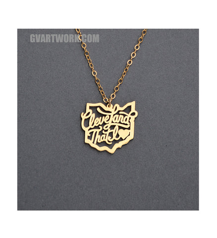 24K gold Cleveland that I love- Ohio necklace