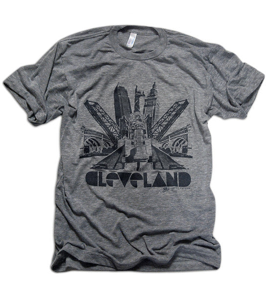 Cleveland Graphic Bridges - Grey Triblend Shirt - Black