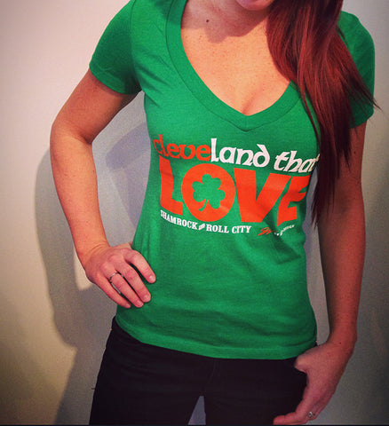 Womens V neck Cleveland That I LOVE Irish T shirt