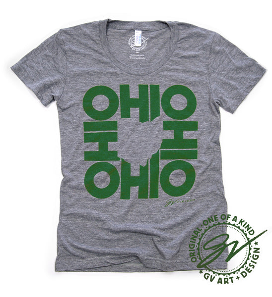 Green Womens All In Ohio T shirt