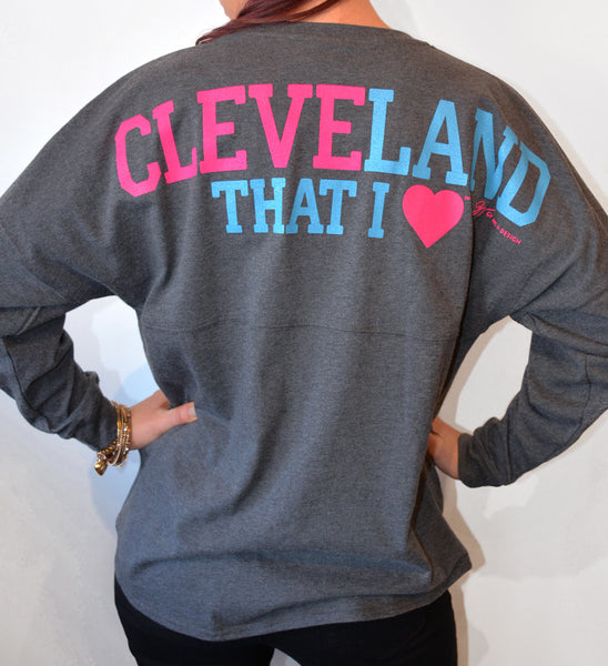 Womens Charcoal Cleveland That I Love Spirit Tee