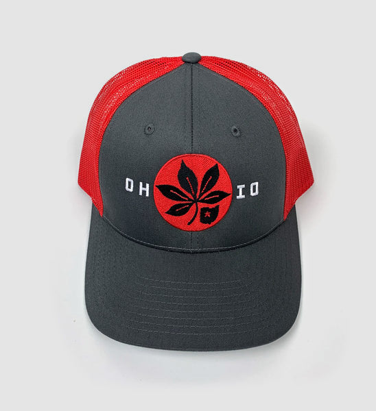 OH-IO Buckeye Mesh Snap Back Hat - Red/Grey