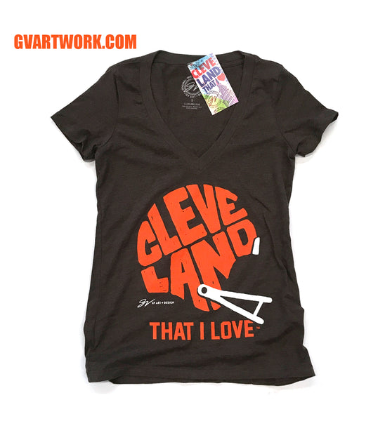 Women's Brown Cleveland That I Love Helmet V Neck