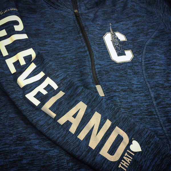 Womens Cleveland That I Love Navy Fleece Quarter Zip Pullover