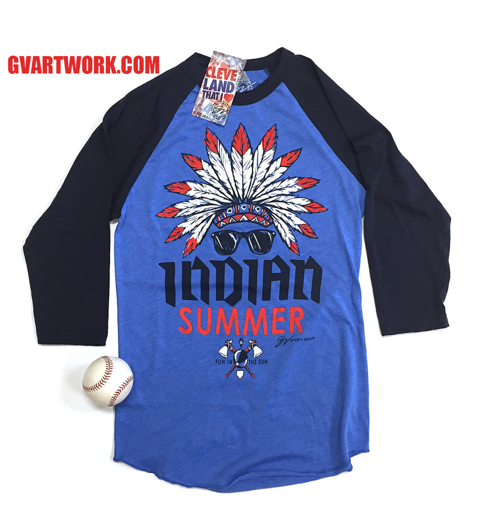 Design t shirt baseball - 3 4 Baseball Sleeve Indian Summer T Shirt
