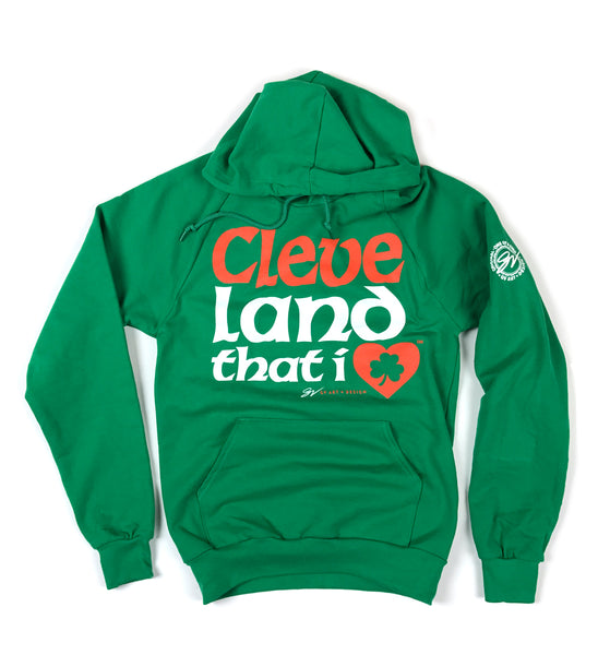Cleveland That I LOVE Irish Font Hoodie
