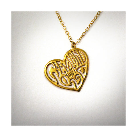 24K Gold Heart Cleveland That I Love Necklace