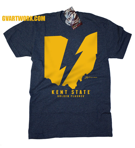 Kent State Ohio Flash Lightning Bolt T shirt