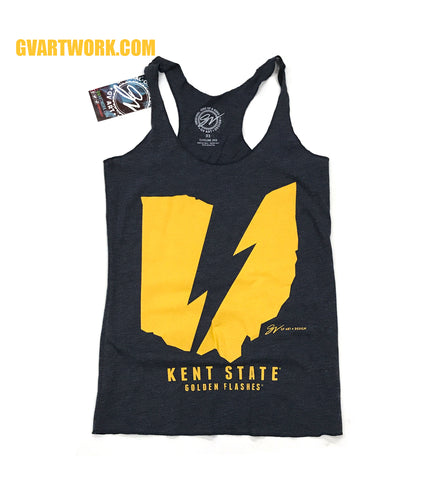 Women's Kent State Ohio Flash Lightning Bolt Racerback Tank
