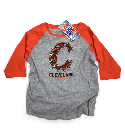 Kids Orange 3/4 sleeve C Collar T shirt