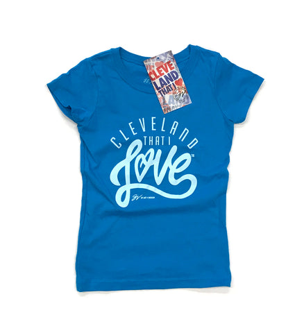 Youth Girls Cleveland Cursive T Shirt blue