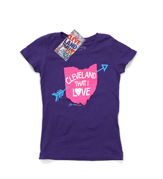 Youth Girls Cleveland That I Love Ohio T Shirt - Purple