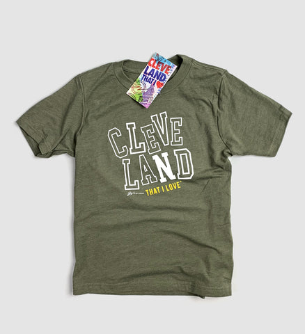 Kids Cleveland Green Block Type T Shirt