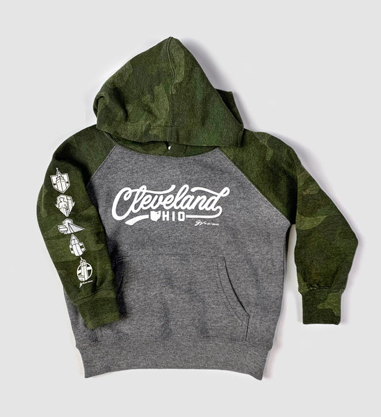 Kids Cleveland Script Camo Pullover Hoodie
