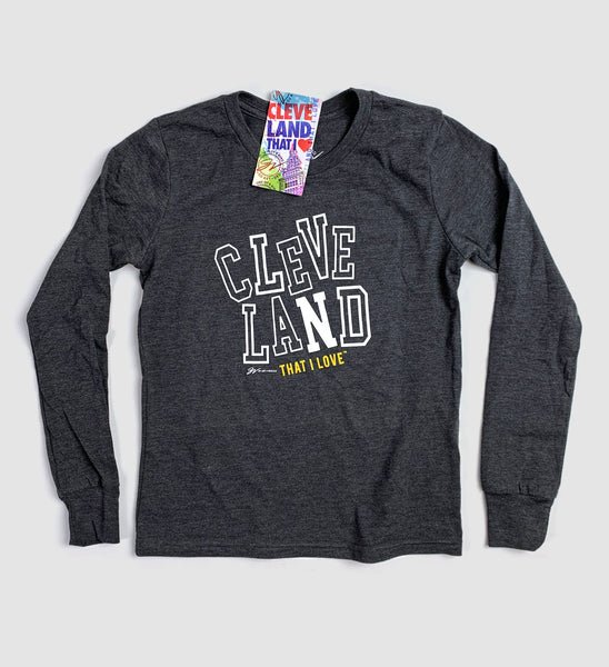 Kids Cleveland Block Type Long Sleeve T Shirt