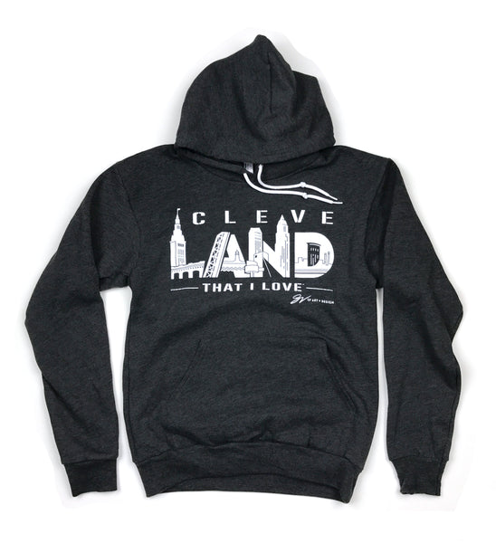 Charcoal CleveLAND Landmarks Graphic Hooded Sweatshirt