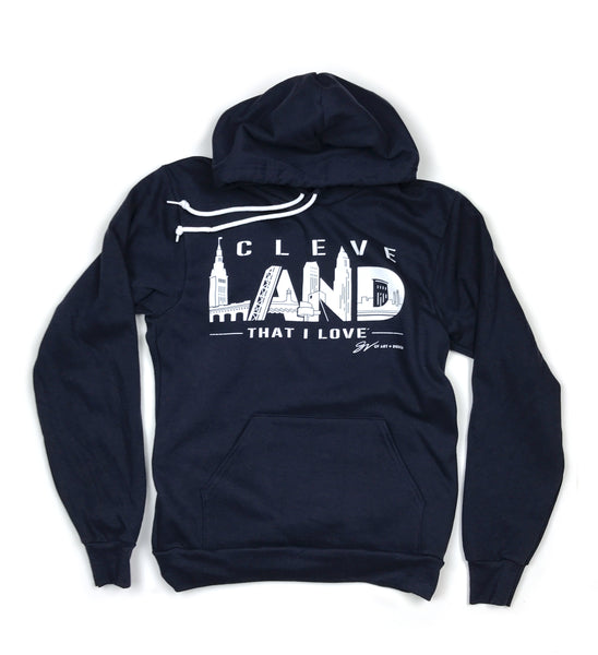 Navy CleveLAND Landmarks Graphic Hooded Sweatshirt