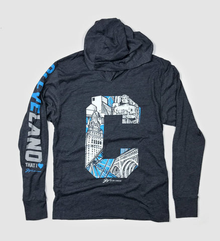 Navy Cleveland C City Graphic Long Sleeve Hooded Tee