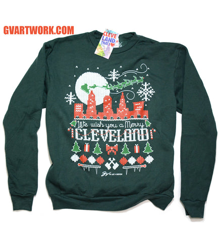 We wish you a Merry Cleveland Christmas Sweater Crew Sweatshirt