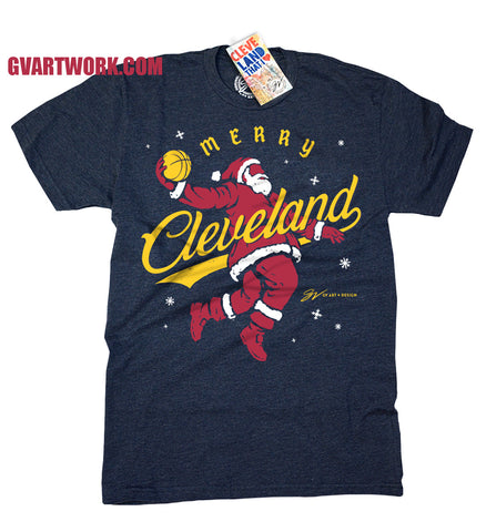 Merry Cleveland Limited Edition Dunking Santa T shirt