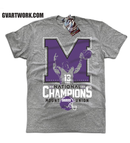 Mount Union National Champions T shirt Grey