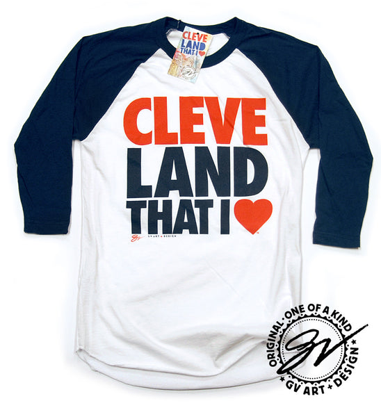 3/4 Sleeve Cleveland That I Love T shirt Navy sleeves