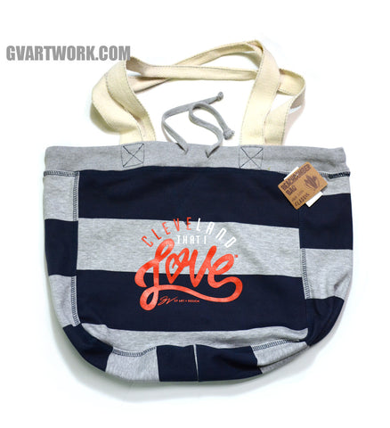 Stripe Navy Cleveland That I Love Beach Bag