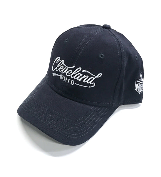 Navy Blue Script Cleveland Dad Hat