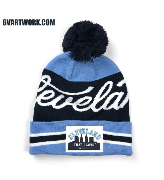 Cleveland That I Love Navy/Light Blue Custom Winter Hat