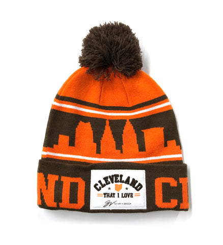 NEW - Cleveland That I Love Brown/Orange Custom Winter Hat