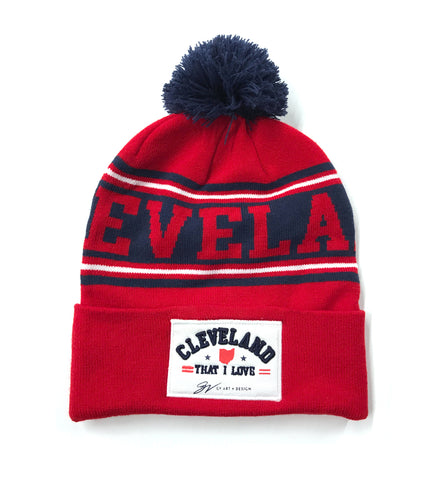 NEW - Cleveland That I Love Navy/Red Custom Winter Hat