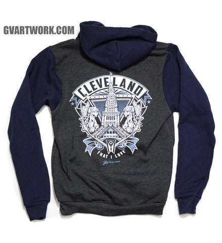 New Cleveland Crest Graphic Two Tone Zip Up Sweatshirt Grey/Navy