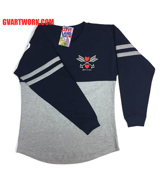 Womens Navy/Grey Striped Cleveland That I Love Spirit Tee