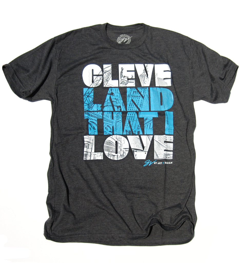 Cleveland That I Love Graphic T Shirt Grey Gv Art And Design