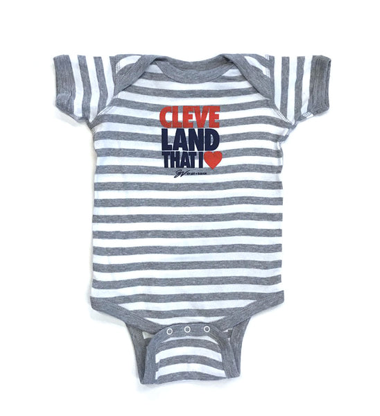 Cleveland That I Love Striped Onesie - Red/Navy Print