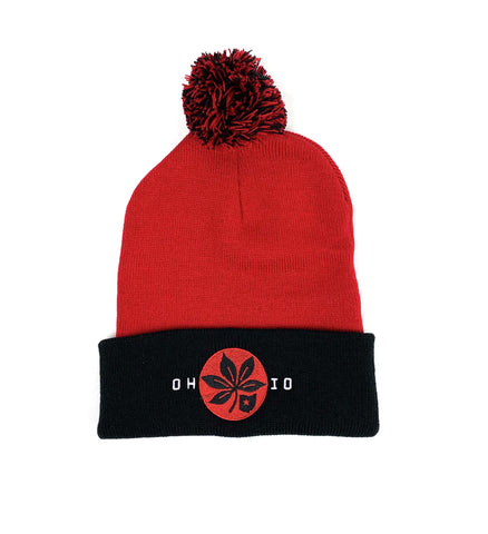 OH-IO Red/Black Pom Pom Winter Hat