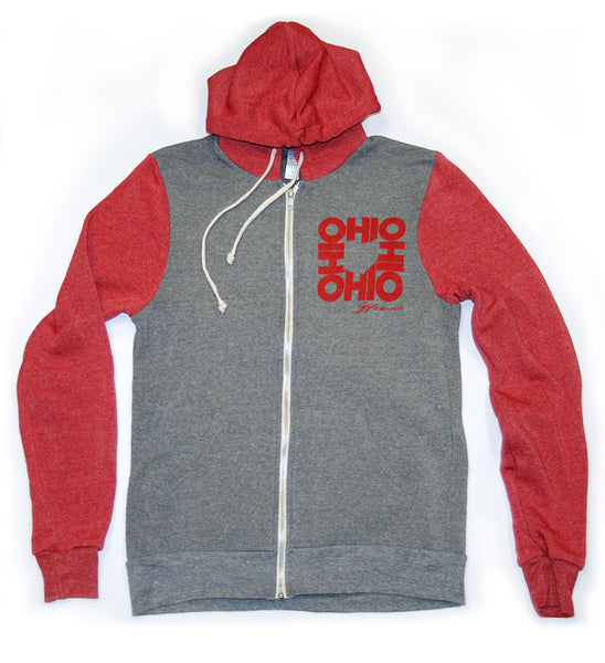 All In Ohio Grey and Red Two Tone Zip Up Hooded Sweatshirt