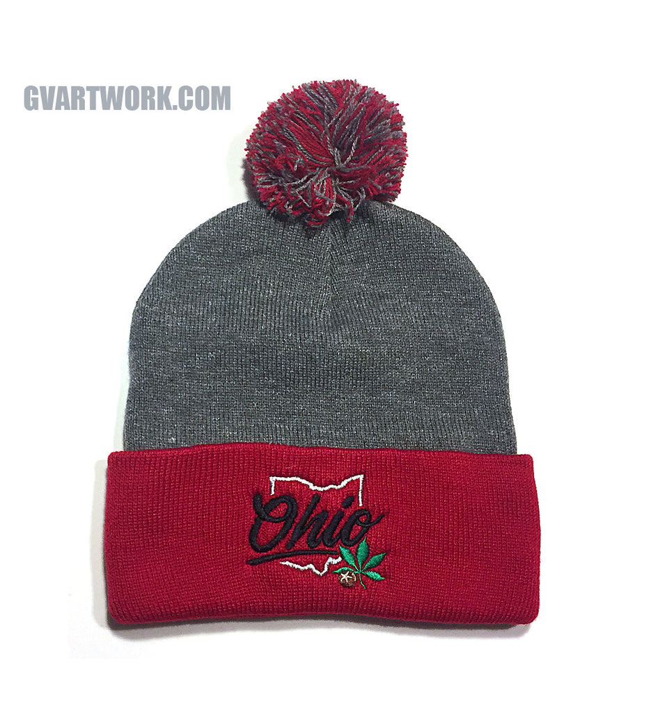 e8ae5c2df12012 OHIO Buckeye State Beanie - Red/Grey Pom Pom | GV Art and Design