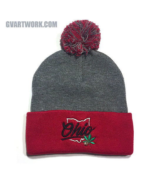 OHIO Buckeye State Beanie - Red/Grey Pom Pom