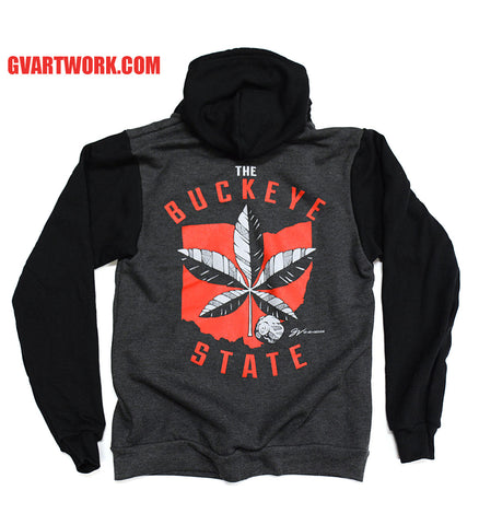 OHIO The Buckeye State Zip Up Hooded Sweatshirt