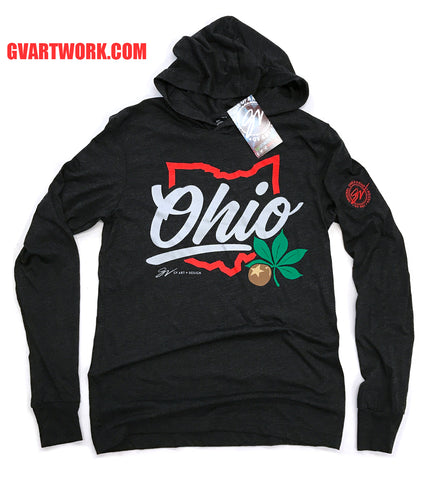 Script Ohio Long Sleeve Hooded T shirt